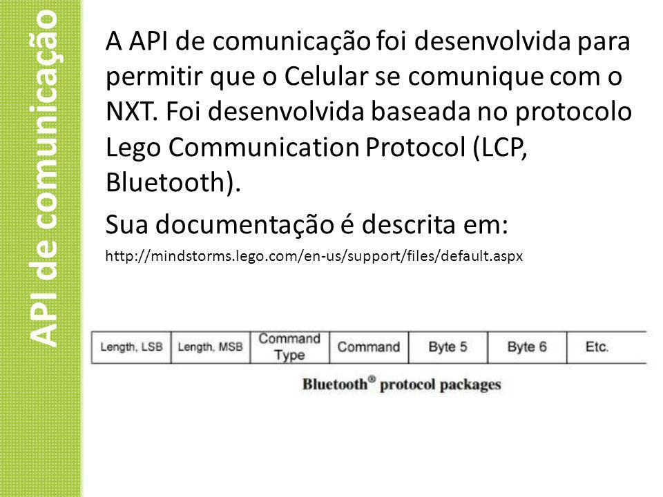 A API de comunicação foi desenvolvida para permitir que o Celular se comunique com o NXT. Foi desenvolvida baseada no protocolo Lego Communication Protocol (LCP, Bluetooth).