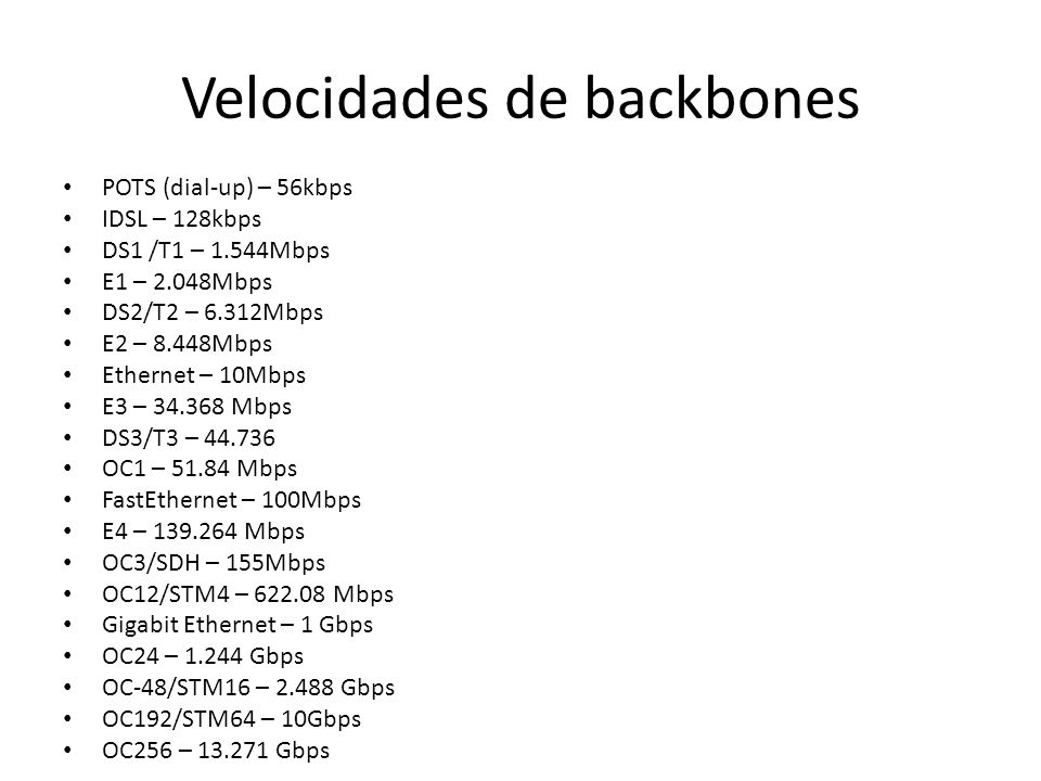 Velocidades de backbones