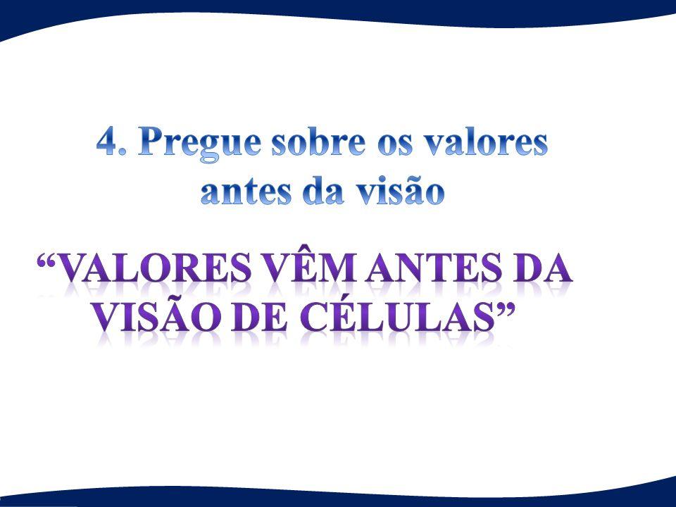 4. Pregue sobre os valores valores vêm antes da visão de células