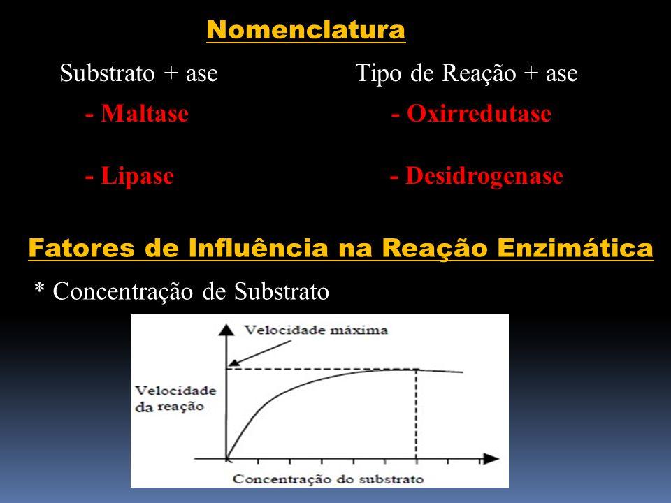 Nomenclatura Substrato + ase Tipo de Reação + ase. - Maltase - Oxirredutase.