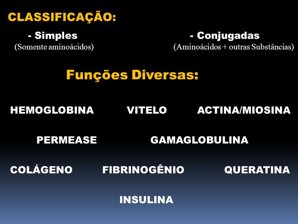 Funções Diversas: CLASSIFICAÇÃO: - Simples - Conjugadas