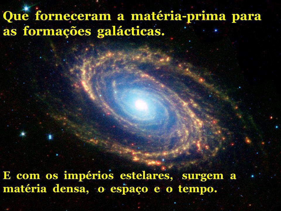 Que forneceram a matéria-prima para as formações galácticas.