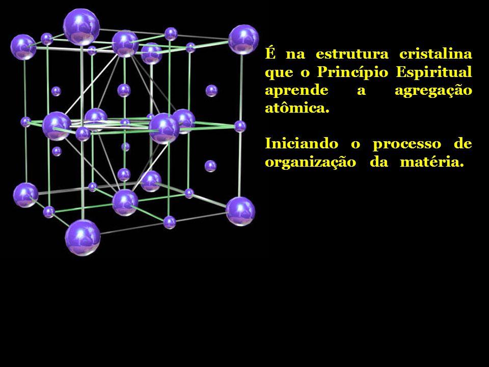 É na estrutura cristalina que o Princípio Espiritual aprende a agregação atômica.