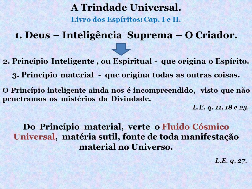 A Trindade Universal. 1. Deus – Inteligência Suprema – O Criador.