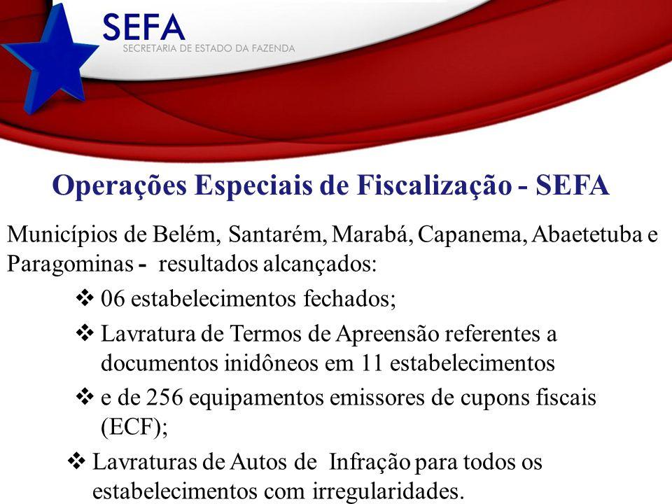 Operações Especiais de Fiscalização - SEFA