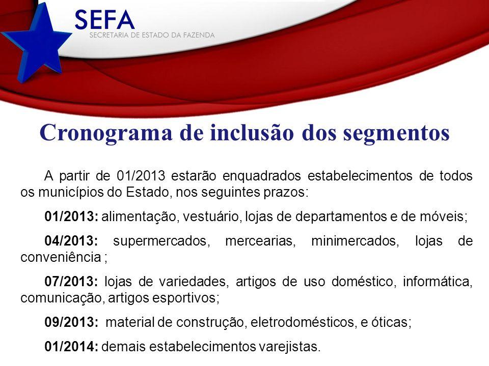 Cronograma de inclusão dos segmentos