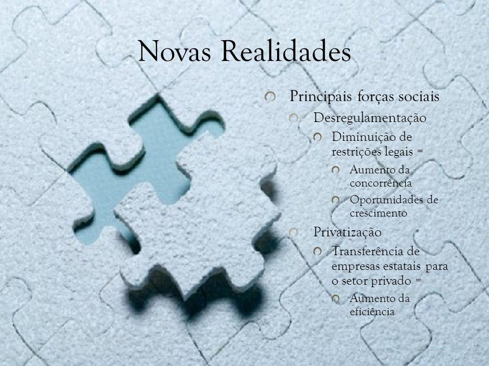 Novas Realidades Principais forças sociais Desregulamentação
