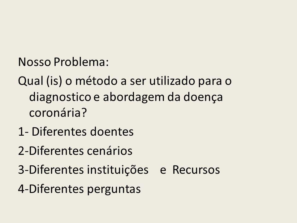 Nosso Problema: Qual (is) o método a ser utilizado para o diagnostico e abordagem da doença coronária.