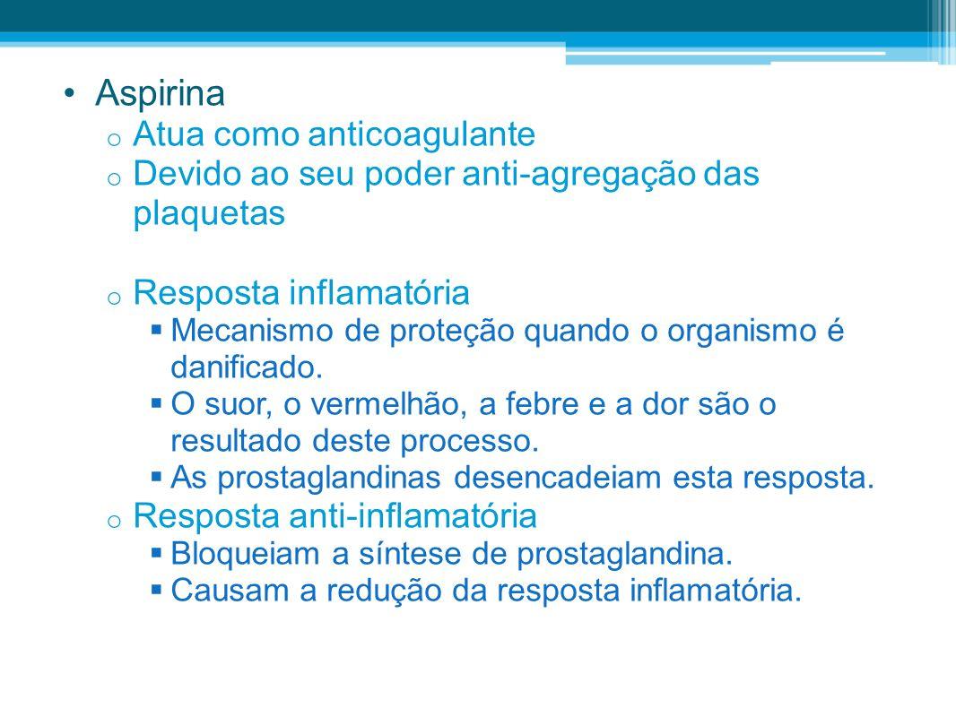 Aspirina Atua como anticoagulante