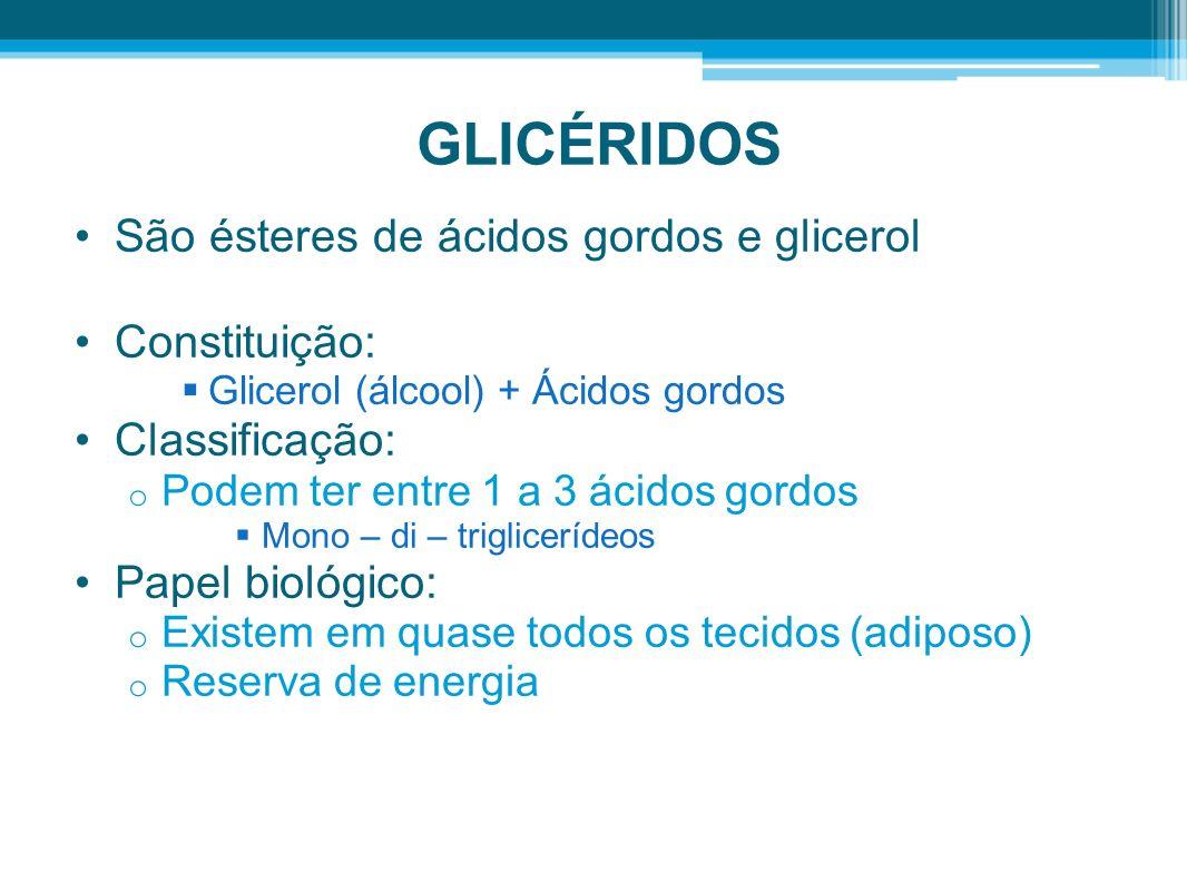 GLICÉRIDOS São ésteres de ácidos gordos e glicerol Constituição: