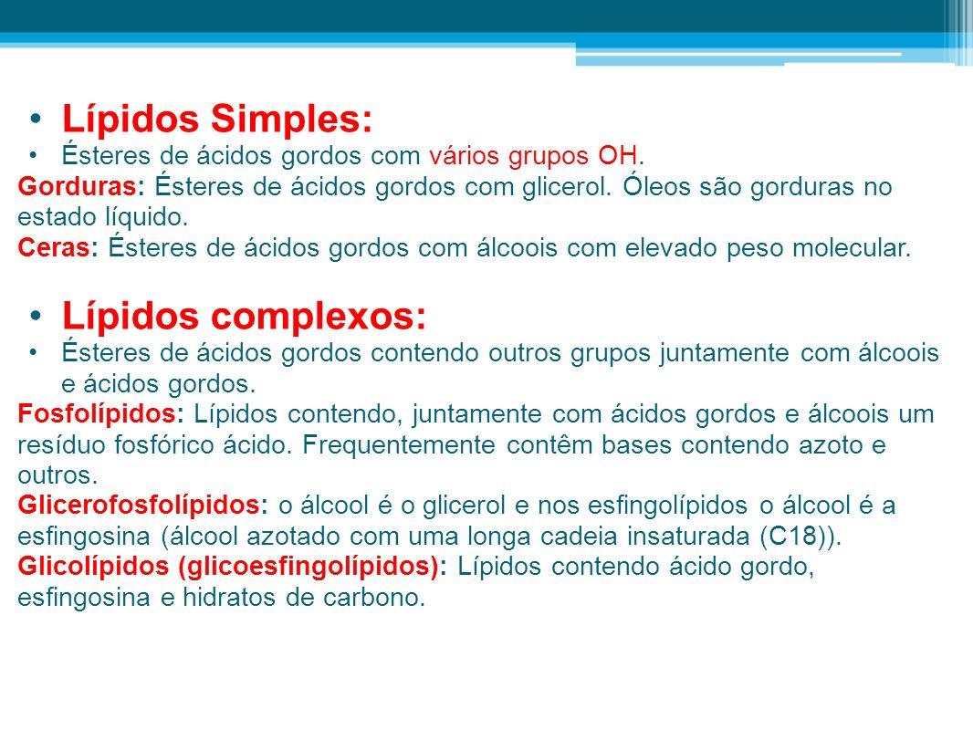Lípidos Simples: Lípidos complexos: