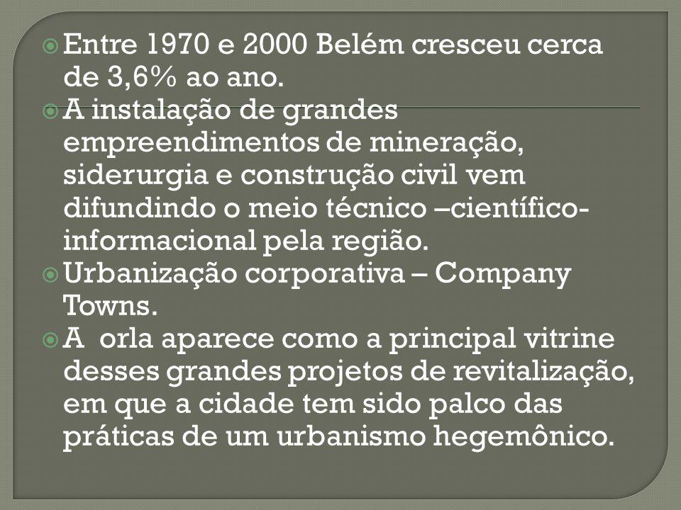 Entre 1970 e 2000 Belém cresceu cerca de 3,6% ao ano.