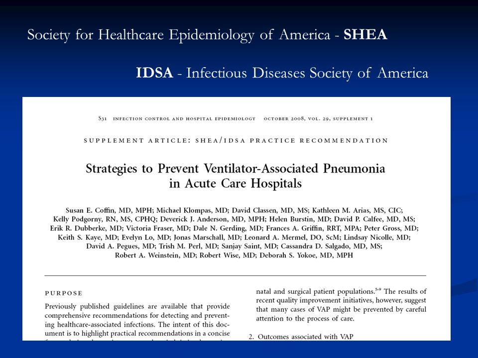 Society for Healthcare Epidemiology of America - SHEA
