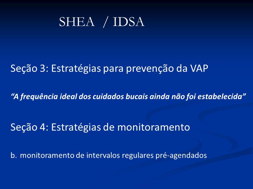 SHEA / IDSA Seção 3: Estratégias para prevenção da VAP