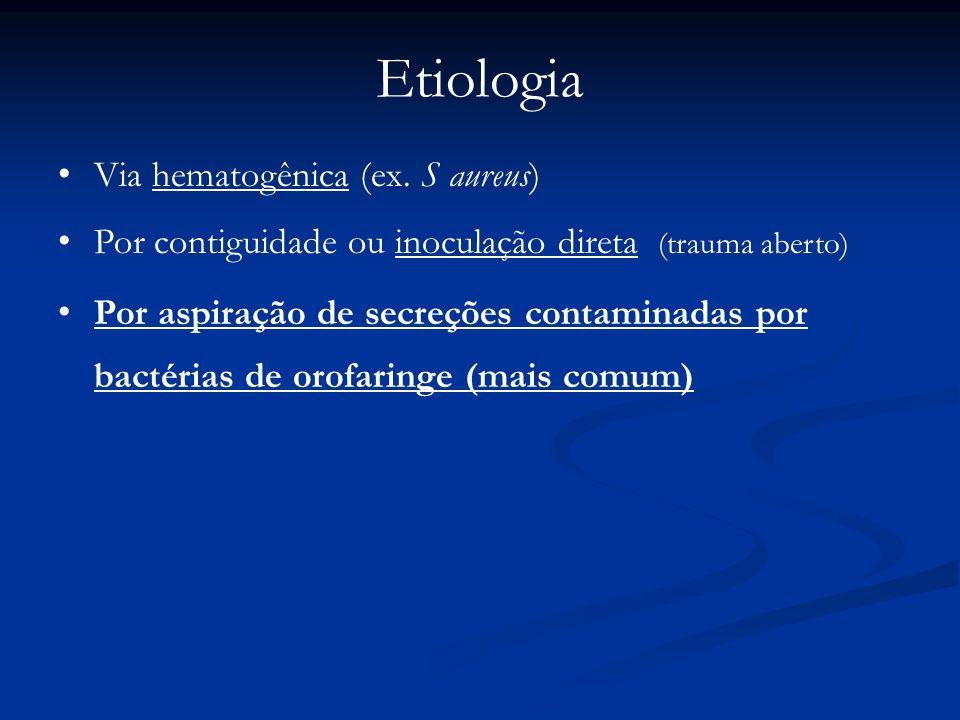 Etiologia Via hematogênica (ex. S aureus)