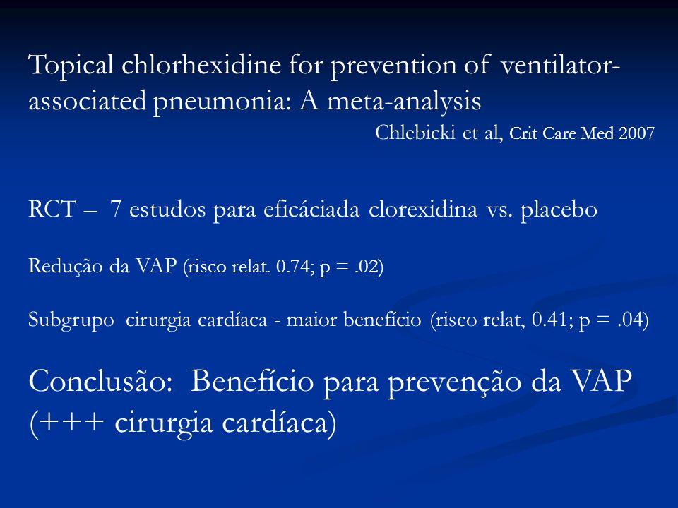 Conclusão: Benefício para prevenção da VAP (+++ cirurgia cardíaca)