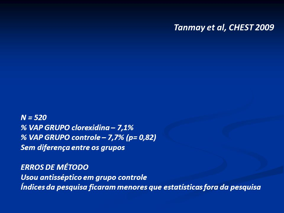 Tanmay et al, CHEST 2009 N = 520 % VAP GRUPO clorexidina – 7,1%