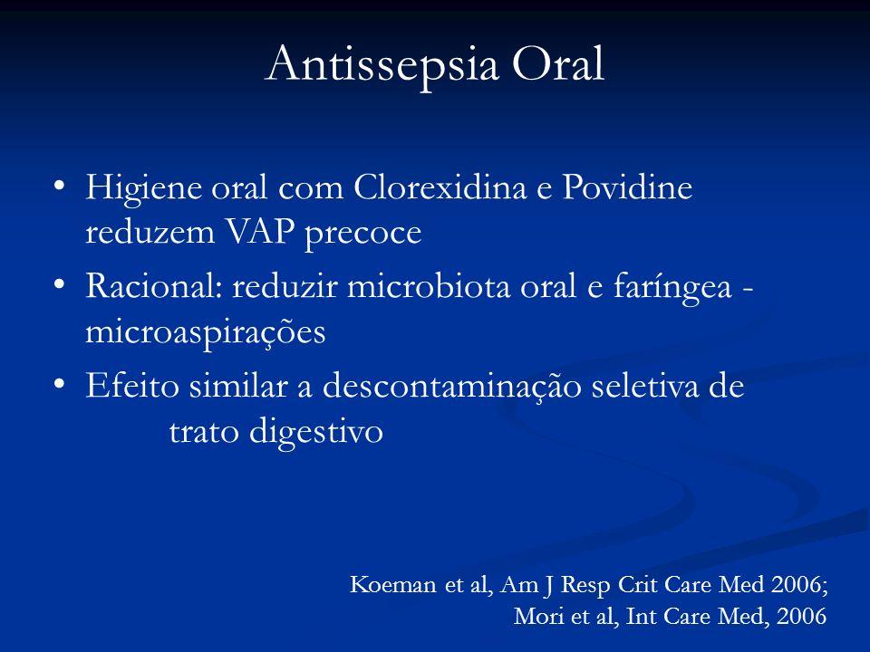 Antissepsia Oral Higiene oral com Clorexidina e Povidine reduzem VAP precoce. Racional: reduzir microbiota oral e faríngea - microaspirações.
