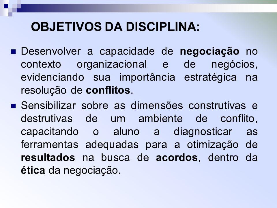 OBJETIVOS DA DISCIPLINA: