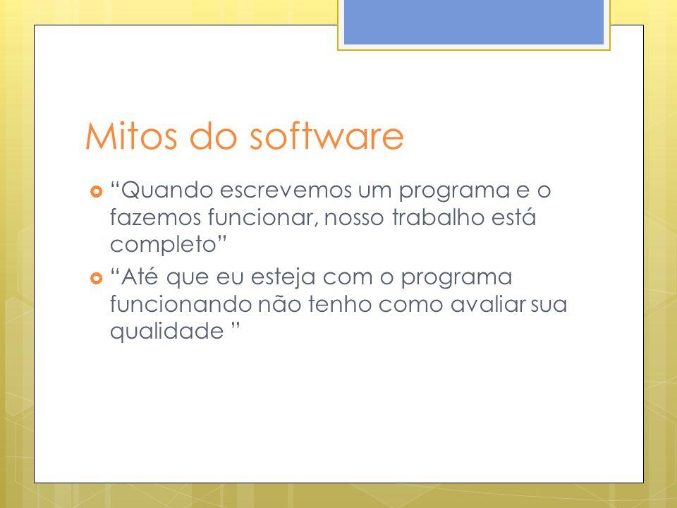 Mitos do software Quando escrevemos um programa e o fazemos funcionar, nosso trabalho está completo