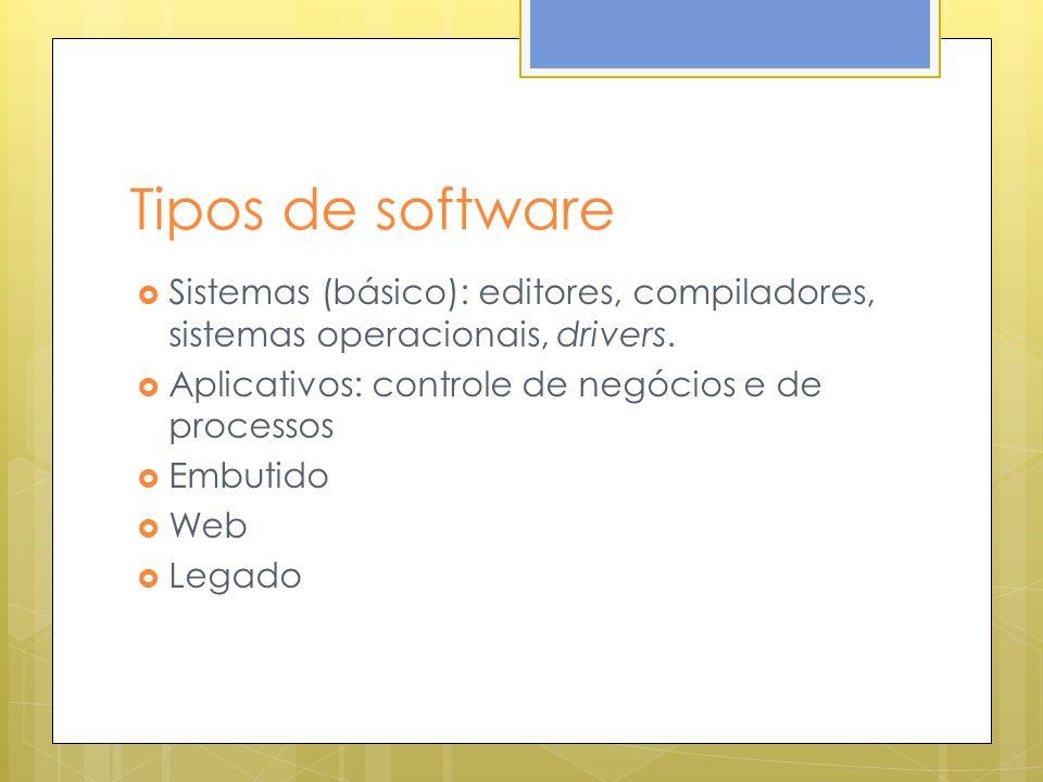 Tipos de software Sistemas (básico): editores, compiladores, sistemas operacionais, drivers. Aplicativos: controle de negócios e de processos.