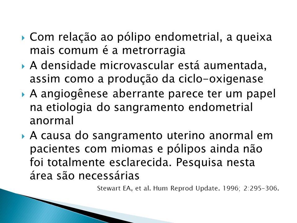 Com relação ao pólipo endometrial, a queixa mais comum é a metrorragia