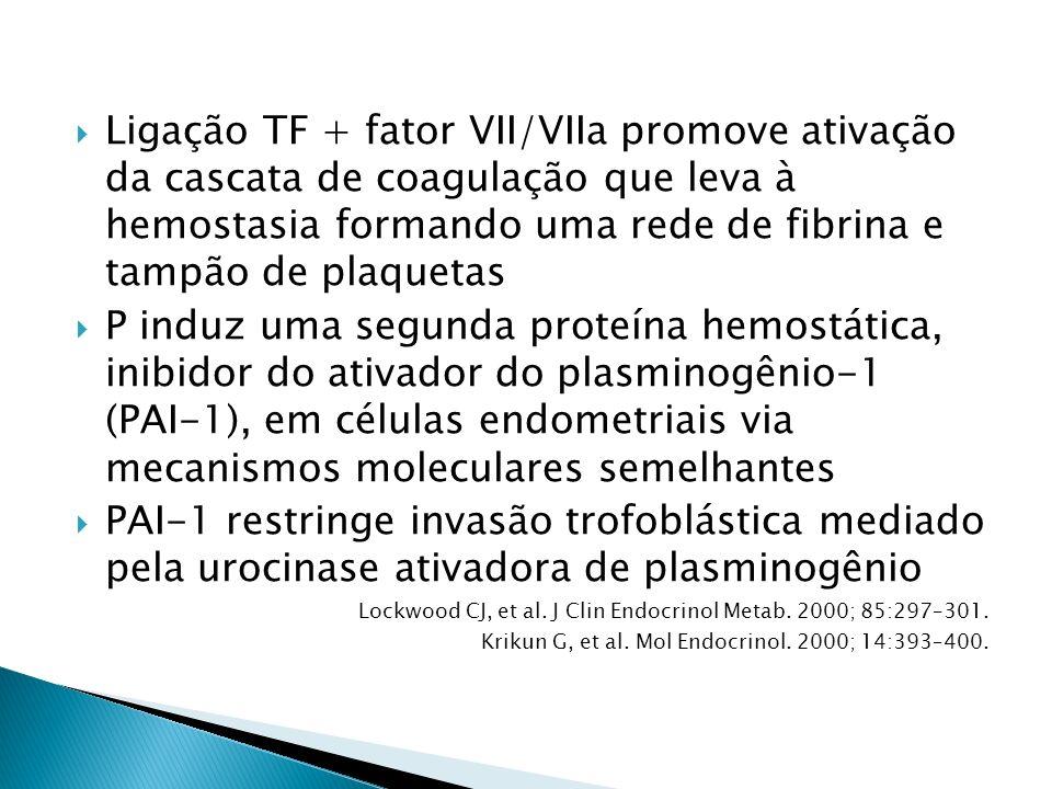 Ligação TF + fator VII/VIIa promove ativação da cascata de coagulação que leva à hemostasia formando uma rede de fibrina e tampão de plaquetas