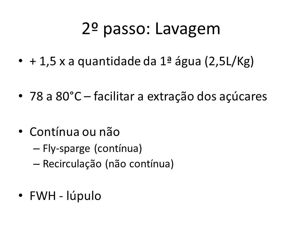 2º passo: Lavagem + 1,5 x a quantidade da 1ª água (2,5L/Kg)