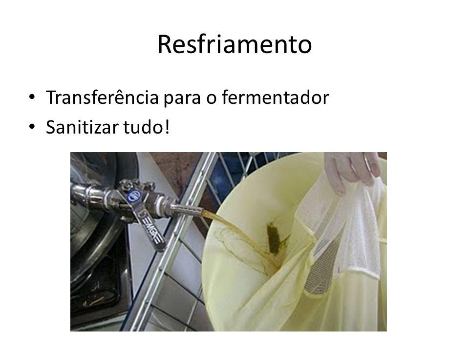 Resfriamento Transferência para o fermentador Sanitizar tudo!