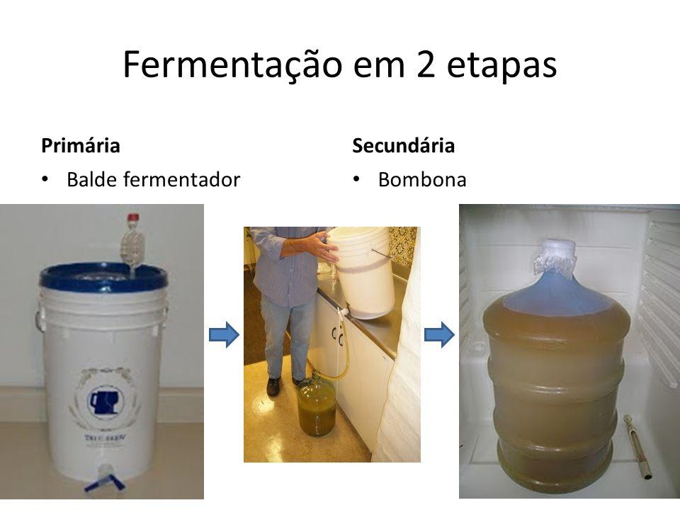Fermentação em 2 etapas Primária Secundária Balde fermentador Bombona