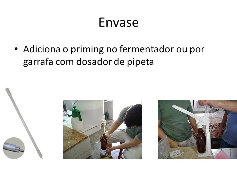 Envase Adiciona o priming no fermentador ou por garrafa com dosador de pipeta