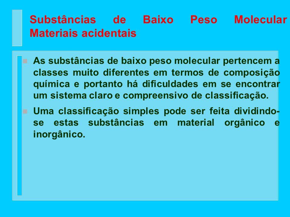 Substâncias de Baixo Peso Molecular Materiais acidentais