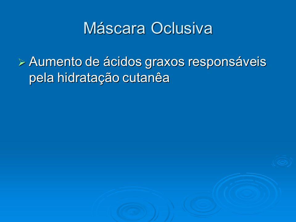 Máscara Oclusiva Aumento de ácidos graxos responsáveis pela hidratação cutanêa