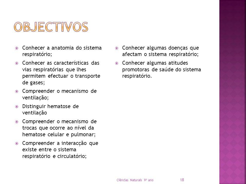 Objectivos Conhecer a anatomia do sistema respiratório;