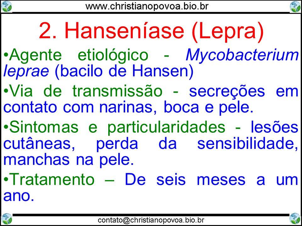 2. Hanseníase (Lepra) Agente etiológico - Mycobacterium leprae (bacilo de Hansen)
