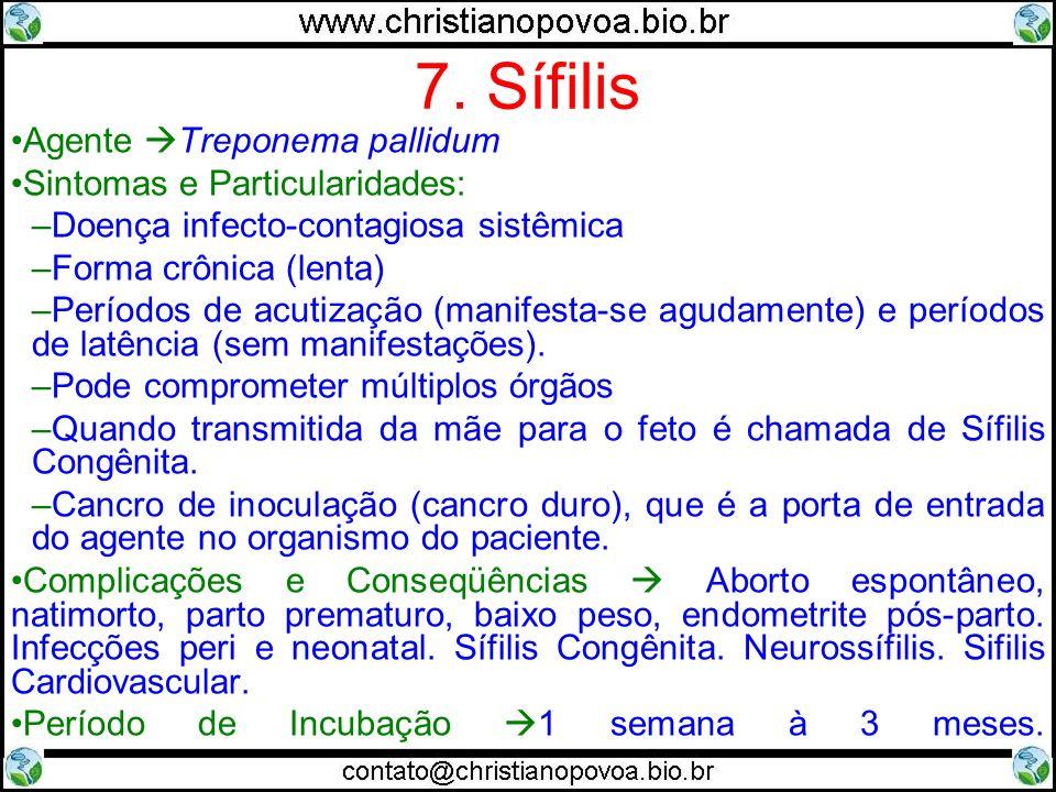 7. Sífilis Agente Treponema pallidum Sintomas e Particularidades: