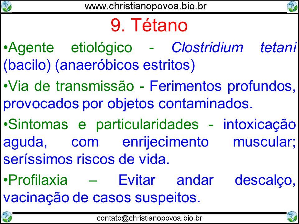9. Tétano Agente etiológico - Clostridium tetani (bacilo) (anaeróbicos estritos)
