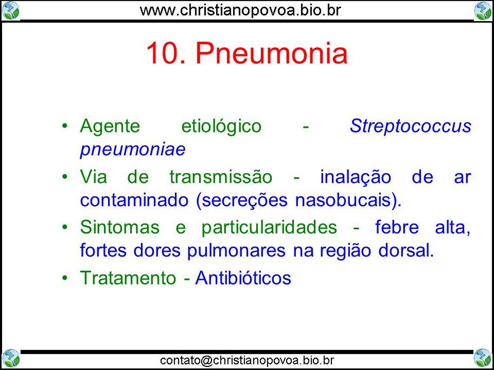 10. Pneumonia Agente etiológico - Streptococcus pneumoniae