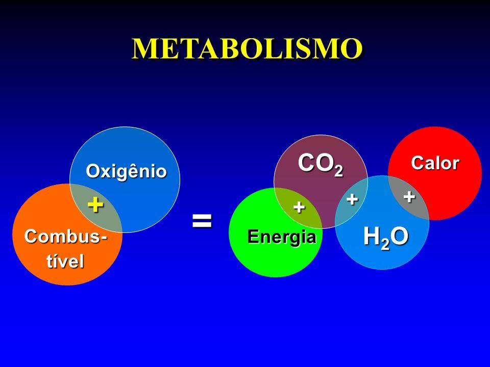METABOLISMO Oxigênio Calor CO2 H2O Combus- tível + + + Energia + =