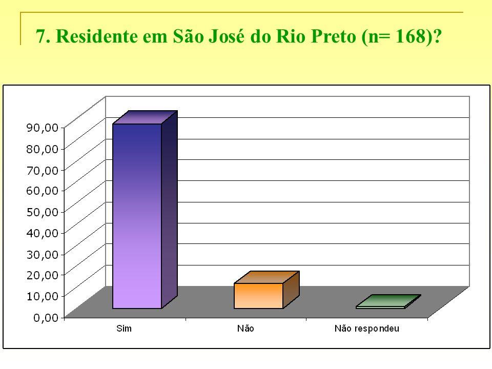 7. Residente em São José do Rio Preto (n= 168)