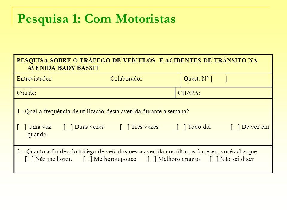 Pesquisa 1: Com Motoristas