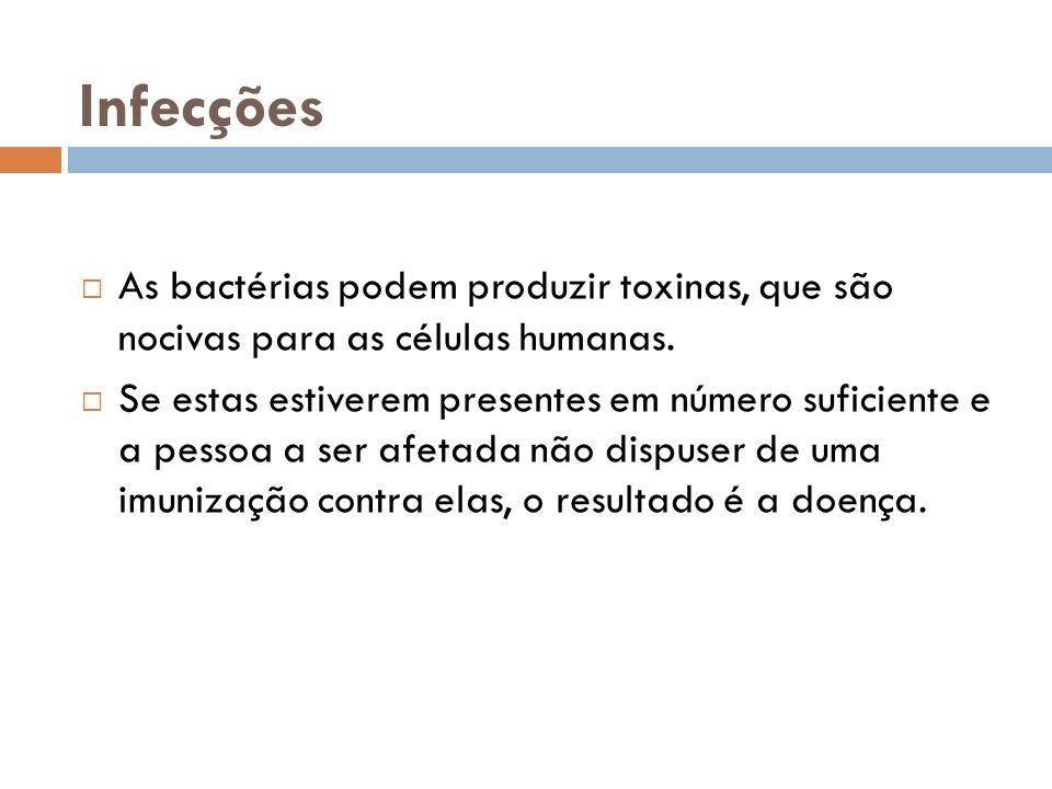 Infecções As bactérias podem produzir toxinas, que são nocivas para as células humanas.