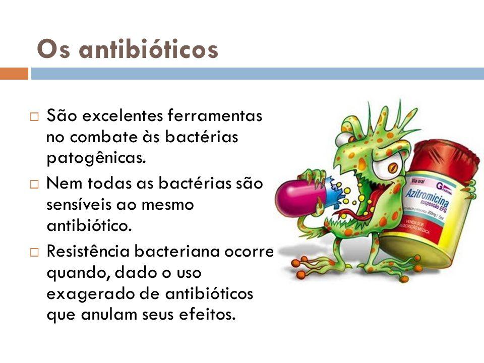 Os antibióticos São excelentes ferramentas no combate às bactérias patogênicas. Nem todas as bactérias são sensíveis ao mesmo antibiótico.