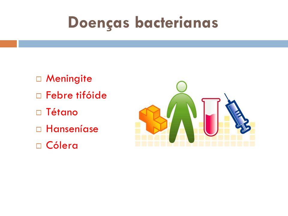 Doenças bacterianas Meningite Febre tifóide Tétano Hanseníase Cólera