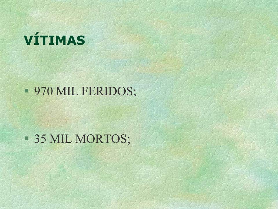 VÍTIMAS 970 MIL FERIDOS; 35 MIL MORTOS;