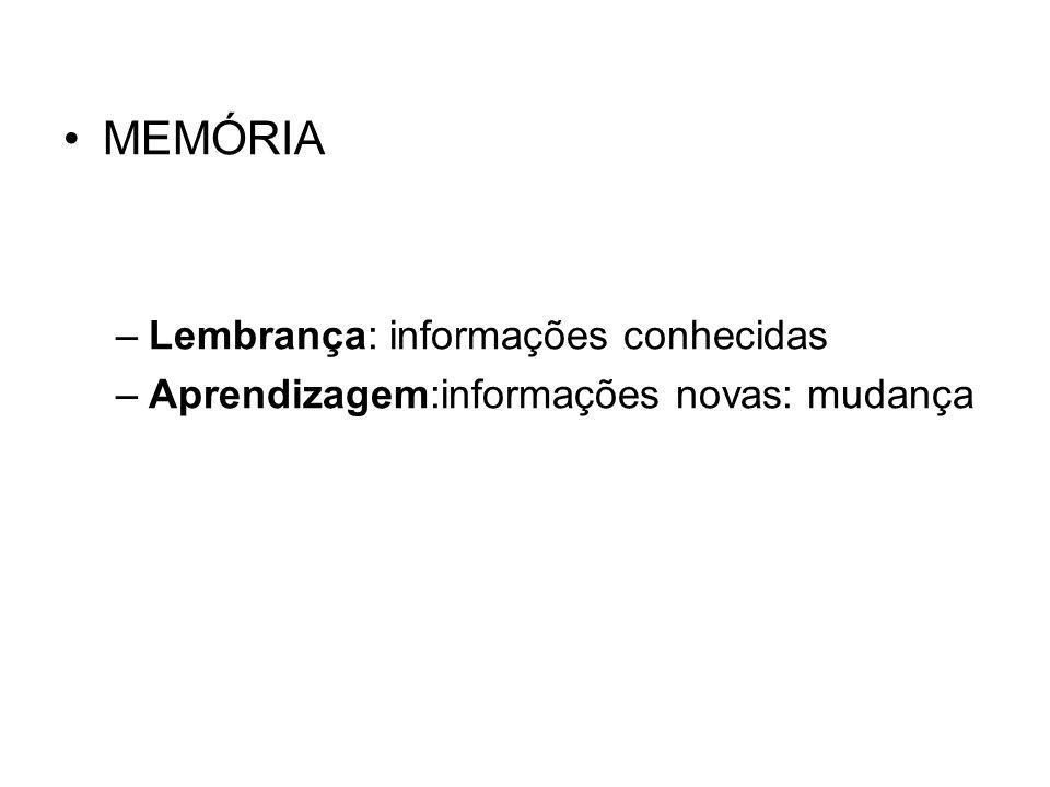 MEMÓRIA Lembrança: informações conhecidas