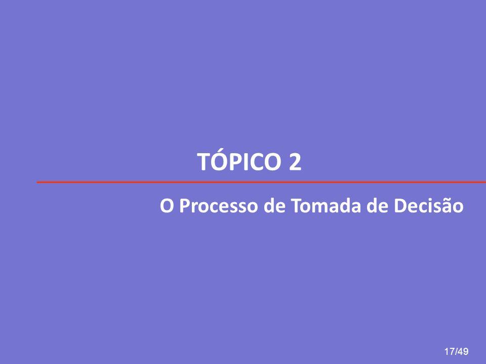 TÓPICO 2 O Processo de Tomada de Decisão 17/49