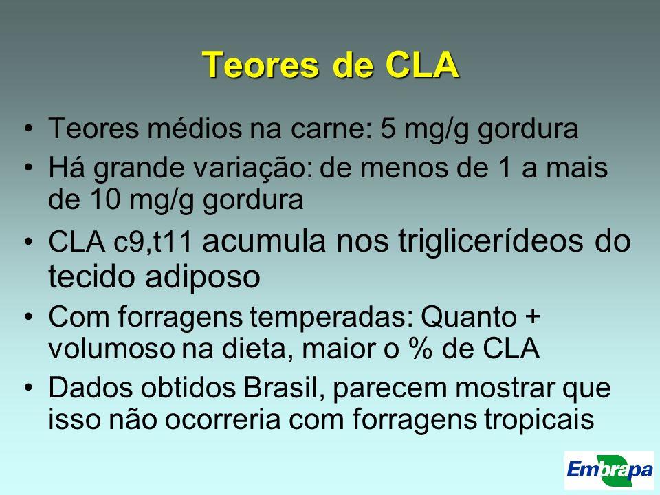 Teores de CLA Teores médios na carne: 5 mg/g gordura
