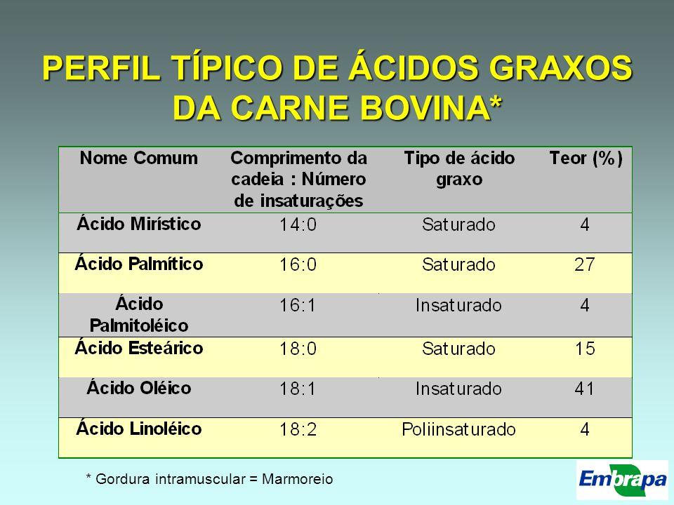 PERFIL TÍPICO DE ÁCIDOS GRAXOS DA CARNE BOVINA*
