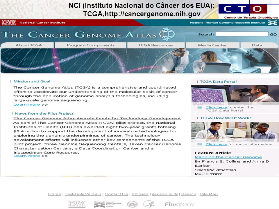 NCI (Instituto Nacional do Câncer dos EUA): TCGA,http://cancergenome